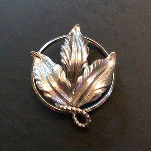 Vintage Helena Sterling Tri-Leaf Pin